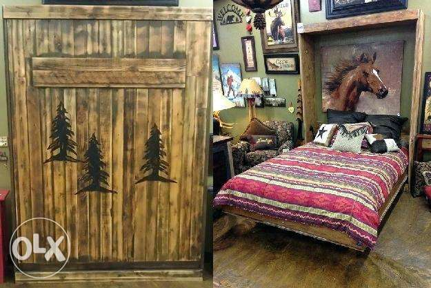 Wal bed wood creative تخت حيط خشب خزانة