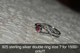 Pure Silver Double Ring Size 7
