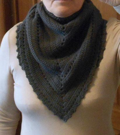 вязаный бактус платок шарф треугольный 100 шерсть ручная работа