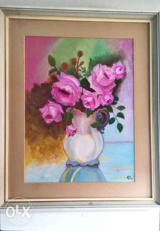 40*30 oil on canvas. Original pink roses hand made by arabian Artist .