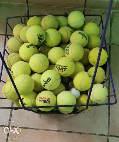 Tennis balls for practice and Hopper