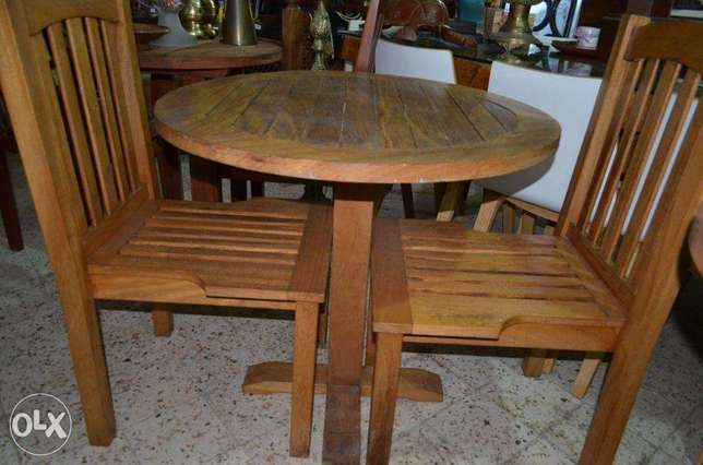table and 2 chairs outdoor teak wood