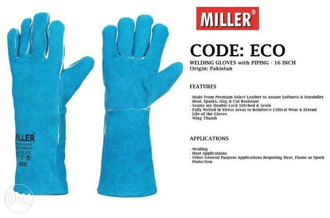WeLdinG gLOVes With PiPIng bLuE cOlOUr-16 IncHEs