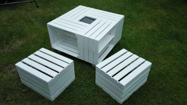 Masywnie Stolik ogrodowy, meble ogrodowe ze skrzynek, stolik z palety JN86