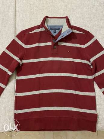 Tommy Hilfiger Men Pullover Red/Gray - Large- New from USA