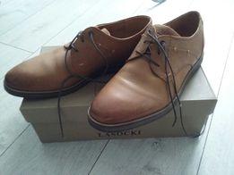 841f5ff0 męskie eleganckie brązowe skórzane buty lasocki r.43