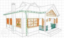 Bungalow Architectural drawing ( Ksh. 15,000)