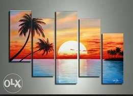 Palm trees sunset paintings