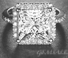 White Gold Plated, 5 Carat Princess Cut Simulated Diamond