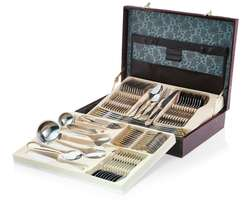 72 Piece Stainless Steel Cutlery Set with Faux Leather Case