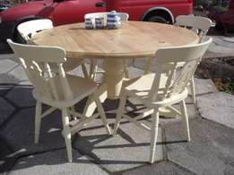 Shabby Chic Farmhouse Country Solid Pine Large Round Table and 5 Chair