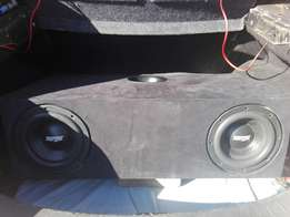 """2x8"""" Targa subs in box with amp very loud"""