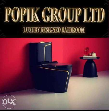 Luxury black wc toilet design model with gold line by POPIKGROUP