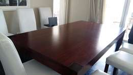 dining room table, 8 seater, dark wood, good condition