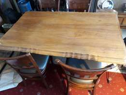 Mahogany dining room table with 4 chairs