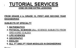 TUTORIAL in Johannesburg (Maths and Physics)