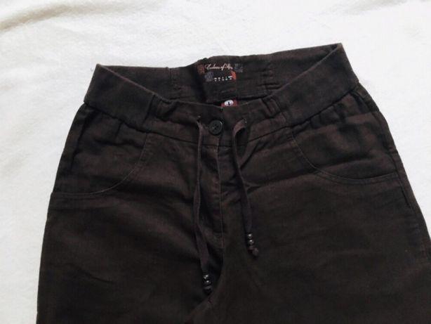 007a150b210628 Tchibo spodnie damskie 36 len bawełna brązowe podwijane nogawki Hornówek -  image 7