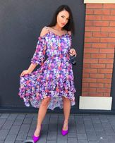 1b3b6dac720180 Sukienka kwiaty falbanka butik 36 38 asymetryczna