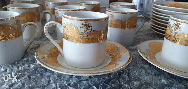 Coffee cups 24kt gold 12 cups and 9 arabic coffee cups free