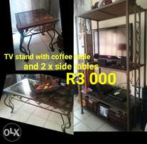 Wrought iron TV stand, coffee table and 2 side tables