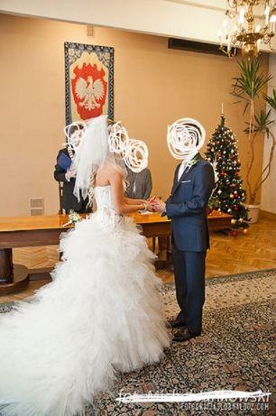 Suknia ślubna Koronkowo Tiulowa Z Trenem Ustrzyki Dolne Olxpl