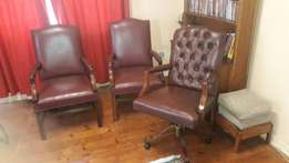 Set of chesterfield executive leather chairs