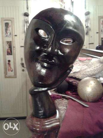 wooden carved self standing african face on hand