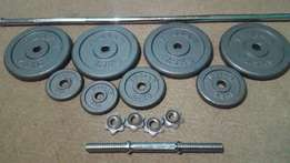 Weight set with steel bar's (Great condition - Trojan)