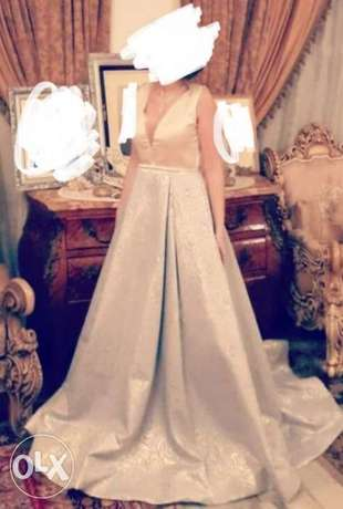 Gold and baby blue ballgown جفير -  2
