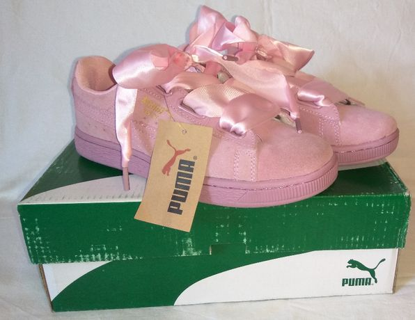 Nowe różowe zamszowe adidasy Puma Sneakersy Suede kokardki36