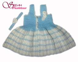 Knitted Baby Dress Blue