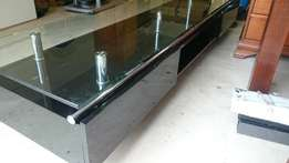 TV Home Theater Stand Black with Glass Top