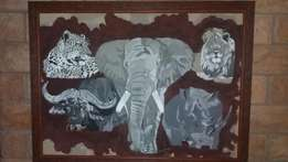 Large big five fabric painting