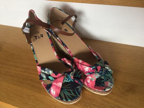ESPADRYLE sandały damskie NA KOTURNIE platforma kolorowe