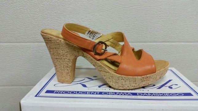 Nowe damskie sandały buty żurek nr 39 koral beż SKÓRA
