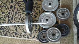 Weights, bench and bar