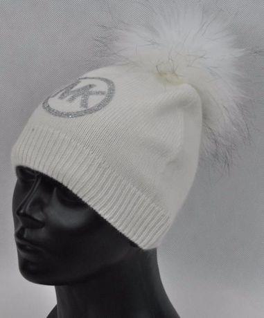 e4f5023f32133 wełniana czapka biała czarna szara beż cyrkonie logo mk michael kors Wrocław  - image 4