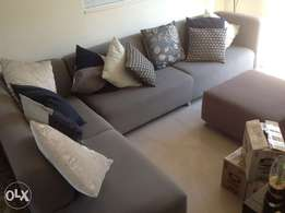 Grey couch plus ottoman, excellent condition