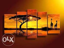 Wall art hand made cool color sunset scenes