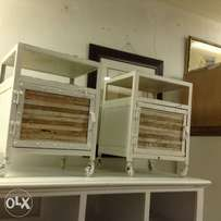 Brand new white metal and wood side tables