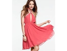 6becde60b1 Koralowa rozkloszowana sukienka suknia h m by night 38 ...