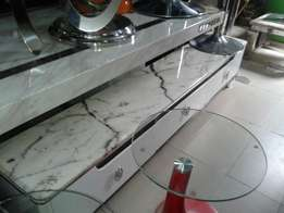 Marble top long tv stand
