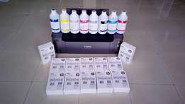 Canon Pixma pro 100 + 8 liters of ink + 2640 5x7 photo papers