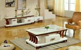 Cream color and brown design tv stand and center table