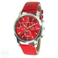 Red leather strap wrist watch