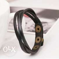 Slim Leather Buckle Bracelet Men fashion Bangles
