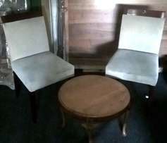 coffee table and 2 swade chairs