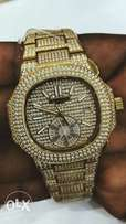 New Patek Philippe Nautilus gold studded wrist watch