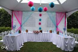 Tents,seats,tables,stages,Lighting,carpets and Decoration