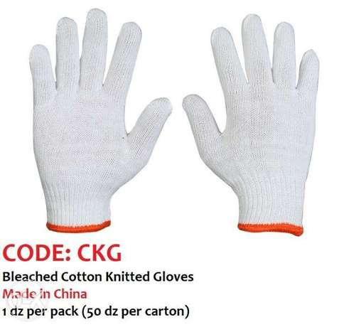 Bleached Cotton Knitted Gloves
